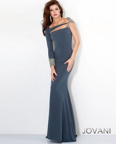 Fitted Jersey Gown Style 5773  One strap cut out fitted long gown features beaded embellishments   Jovani