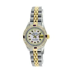 Pre-owned Rolex Watch ($5,495) ❤ liked on Polyvore featuring jewelry, watches, apparel & accessories, white, dial watches, bracelet watches, pre owned watches, stainless steel bracelet and 18 karat gold jewelry