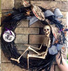 skelton wreaths | Halloween Wreath Skeleton Wreath Scary Wreath by SewSimple4you