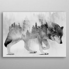 Wolf and Forest 6 by Mateusz Ślemp on Displate Forest Theme Bedrooms, Forest Bedroom, Bedroom Themes, Bedroom Ideas, Boys Bedroom Paint, Animal Bedroom, Wolf Spirit Animal, Legends And Myths, Beautiful Wolves