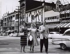 Three tourists in Vancouver's Chinatown in 1959.