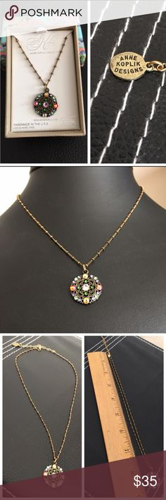 """Lovely ANN KOPLICK necklace w SWAROVSKI Elements Lovely ANN KOPLICK necklace w SWAROVSKI Elements, new in box,  NWOT.  Adjustable length chain from 16"""" to approx 20"""".  Gorgeous iridescent colored Swarovski Crystal elements. Ann Koplik Designs Jewelry Necklaces"""