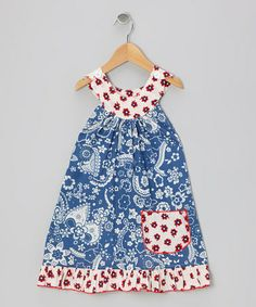 Take a look at this Blue Bandanna Trapeze Dress - Toddler & Girls by Beary Basics on #zulily today!