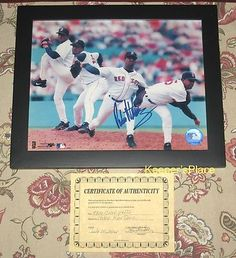 SOLD.....From Private Collector ~ PEDRO MARTINEZ MULITPLE EXPOSURE FRAMED PHOTO AUTOGRAPHED RED SOX 8 X 10 w/Certificate of Authhenticity