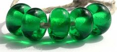 DARK EMERALD Handmade Lampwork Donut Spacers  TANERES by taneres, $5.25