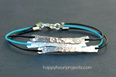 Design your own photo charms compatible with your pandora bracelets. Hammered Wire and Leather Bracelet DIY, and many other ideas on this website to distract me for hours. Diy Bracelets Leather Cord, Leather Jewelry, Metal Jewelry, Beaded Jewelry, Jewelry Bracelets, Handmade Jewelry, Jewlery, Geek Jewelry, Braided Bracelets