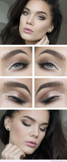 Linda Hallberg nude eye makeup and pink lips