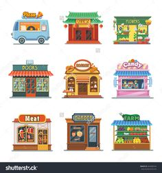 Set Of Nice Showcases Of Shops. Pizza Trailer, Bakery, Candy Store, Farm Products, Barbershop, Meat Shop, Bookstore, Chinese Food, Flower Outlet. Flat Vector Illustration Set. - 464989544 : Shutterstock
