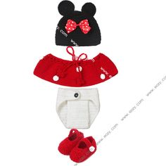 Baby Velvet Crochet Beanie Photography Hat Clothes Shoes Set #eozy
