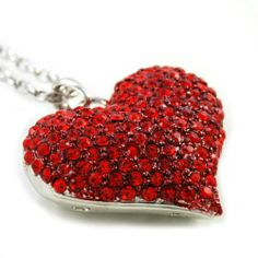 FREE SHIPPING!! Big Love Red Heart Valentine's Day Pendant Necklace Charm Rhinestones Ladies Women Fashion Jewelry Silver Tone: Jewelry
