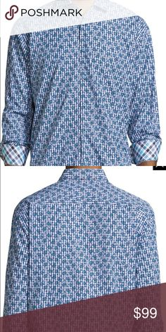 Neiman Marcus fantastic button down shirt White and blue checkered shirt with a unique design on it. People will see you as a guy who has style when they see you wearing this. Neiman Marcus Shirts Dress Shirts