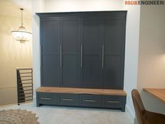 These mudroom lockers were built to sit on top of the custom built in bench we recently made. With this mudroom being a main throughway in our house, we wanted these lockers to look nice, be functional, and hide all of our daily crap. Faux Brick Panels, Brick Paneling, Bench With Drawers, Built In Bench, Kathy Ireland, Diy Locker, Locker Storage, Closet Storage, Diy Interior