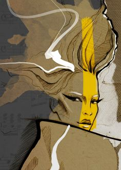"""""""Passion for Fashion"""" set of 9 illustrations, created exclusively for """"Salon de Paris exhibition"""". These art pieces were created using pencil, ink digital rendering and collage.  Thank you 4Art Inc Ga..."""