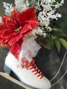 Ice Skate Winter Floral Decoration Christmas by tawnystreasures
