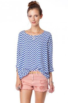 Daily Zig Zag Blouse in Nautical