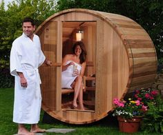Transform your backyard into a world class spa by installing this two person canopy barrel sauna out back. This Canadian Red cedar sauna's design maximizes seating space and features accents like a small porch so you can relax when you step out.