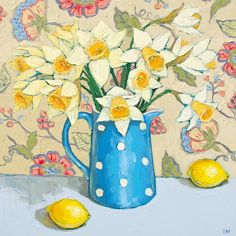 Spring Daffodils with Lemons Floral Drawing, Art Floral, Kids Watercolor, Guache, Still Life Art, Bird Drawings, Naive Art, Texture Painting, Painting Inspiration