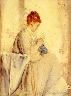 La Tricoteuse - Alfred Emile Léopold Stevens