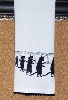 Cotton huck tea towel with Whimsical Cat hand by ecarlateboutique, $14.00