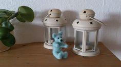 Teddy bear needle felted turqouise miniature by FeltedByRikke