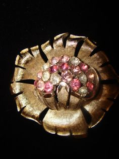 Vintage Coro Flower Brooch with Pink and Clear by TheClassyLady, $26.00