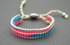 Link Friendship Bracelet  Rainbow Neon Color by MacaroonNotebook, $16.00