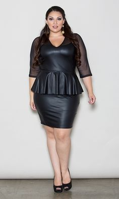 This supremely sexy, faux-leather peplum dress with sheer sleeves and neckline will keep you going all night. Elbow length sleeves Hemline hits at knee Modest V-neckline Lightweight, faux leatherPour sugar all over your foxy shape with irresistible pleather and mesh.