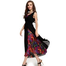 Fashion  summer dress new chiffon  print dresses sleeveless maxi dress sexy little black women dresses vintage vestidos CD20(China (Mainland))