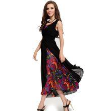 Fashion  summer dress new chiffon  print dresses sleeveless maxi dress sexy little black women dresses vintage vestidos CD20(China (Mainland))