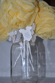 Yellow and Gray Chevron Baby Rattle Bath Puff Baby Shower Favor with Tag