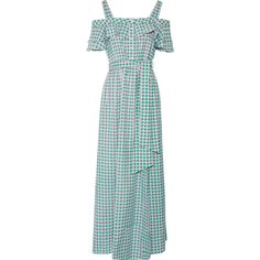 Draper James Dolly cold-shoulder gingham cotton and silk-blend maxi... (€390) ❤ liked on Polyvore featuring dresses, vestidos, green, cutout shoulder dresses, ruffle maxi dress, cut out shoulder dress, cut-out shoulder dresses and flutter sleeve dress