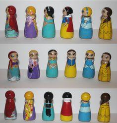 Disney Princess Peg dolls Ariel, Rapunzel, Jasmine, Snow White, Cinderella, Belle