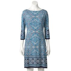 Women's Suite 7 Print Shift Dress, Size: 4, Turquoise/Blue (Turq/Aqua)