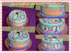 Doc Mcstuffins Theme Cake - Doc McStuffins Cake all Doc's little check-up tools, magnifying glass,medicine injector Big bandaid with her name   on it,stethoscope,thermometer,ophthalmoscope, corky hearts all edible dusted with shimmer. Doc & her stuffed friends printed on sugar sheets cut out in hearts piped frosting around the image.