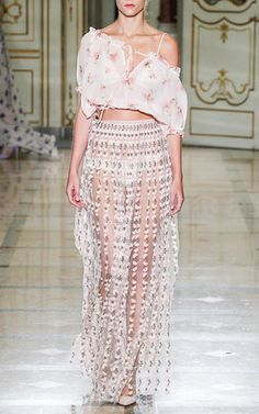 Carnation Embroidered Long Skirt  by LUISA BECCARIA for Preorder on Moda Operandi