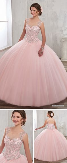 Mary's Quinceanera Style 4802 • Tulle quinceanera ball gown with illusion bateau neck line, beaded bodice, basque waist line, and back with cut-out and lace-up closure.