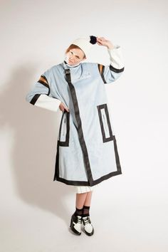 Colour-block Coat with Black Leather Trims & Digital Embroidery