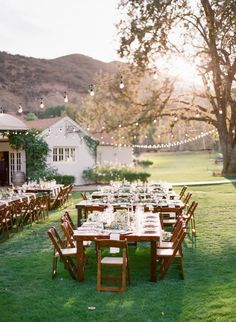 Al fresco creek valley wedding table decor: http://www.stylemepretty.com/2017/05/12/triunfo-creek-vineyards-wedding/ Photography: Koman - http://komanphotography.com/