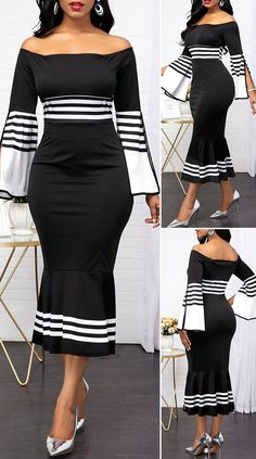 Off the Shoulder Slit Sleeve Stripe Print Dress – Christmas Fashion Trends Pretty Dresses, Sexy Dresses, Beautiful Dresses, Casual Dresses, Fashion Dresses, Fashion Fashion, Curvy Outfits, Dress Outfits, Award Show Dresses