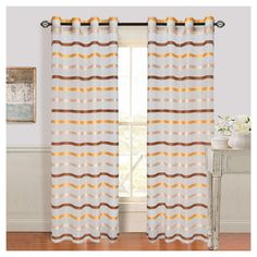 """Yorkshire Home Arla Grommet Curtain Panel - Coffee/Yellow (Brown/Yellow) (54""""x108"""")"""