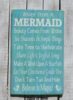 Original Advice From A Mermaid Wood Beach Sign Mermaid Wall Art Beach Bathroom Girls Room Inspirational Quotes Sayings Words Nautical Mermaids Décor #advicefromamermaid #mermaiddecor #mermaidart