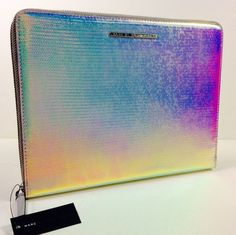 MARC JACOBS ELECTRONIC TABLET ZIPPERED CASE FOR IPAD.SILVER HOLOGRAPHIC #MarcJacobs
