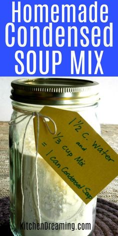 Homemade Condensed Soup Mix keeps in the pantry for up to a year and each batch makes the equivalent of 9 cans of condensed soup. Perfect for crock pot cooking. #Condensed #Soup #mix #substitute #Easy #Crock pot #Slow cooker #Kitchen Dreaming via @rjeagle12