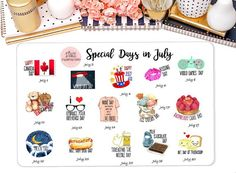 Special Days in July Celebrate Stickers Erin Condren by StiandCo Days In July, Daily Holidays, Calendar Stickers, National Days, Plum Paper, File Organization, Happiness Project, Permanent Marker, Planner Ideas