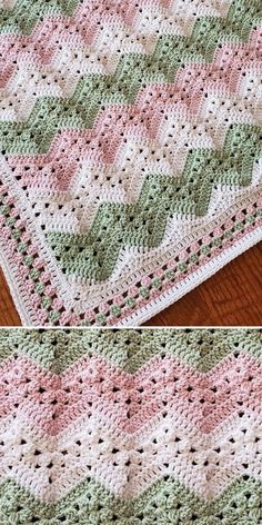Kid Blanket by Kim Stewart Jackson - Are you a sucker for pastels? What's more spring-inspired than pink and green combo? Crochet Baby Blanket Free Pattern, Crochet Ripple, Baby Afghan Crochet, Afghan Crochet Patterns, Crochet Stitches, Knitting Patterns, Knit Crochet, Zig Zag Crochet Pattern, Crochet Baby Blankets