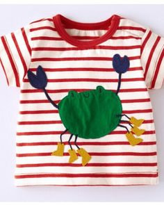 55824a6fa Cartoon crab t shirt for baby appliqué animal pattern red and white striped t  shirt-