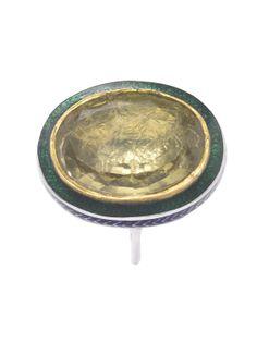 Bespoke lemon ring in fine silver & 24ct gold