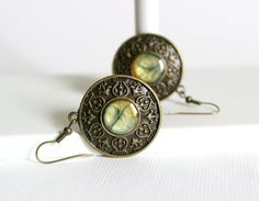 Bronze Green Earrings, Round Earrings,Bronze Earrings,Resin Earrings,Dangle Earrings,Unique Earrings,Unique Gift,Minimalistic Earrings,Green on Etsy, $16.65