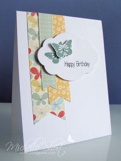 Clearly Besotted Butterfly Wishes stamp set with pretty patterned papers; birthday.  My Minds Eye In the Sunny side paper