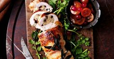 This rolled and stuffed turkey makes for a perfect centrepiece and an alternative to the huge Christmas turkey. Serve with a variety of colourful vegetable sides.